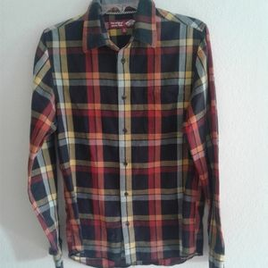 Vans plaid long sleeve button down casual shirt